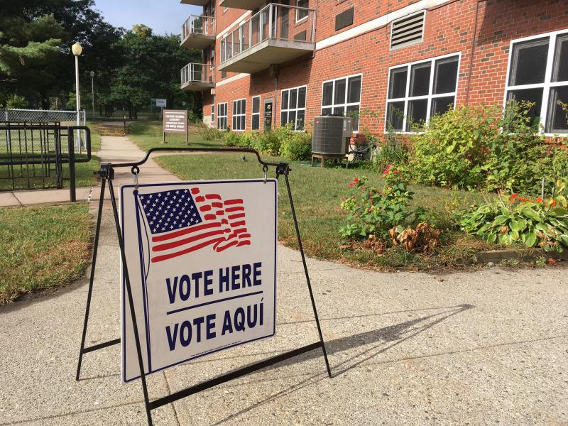The polling place at Falcetti Towers in Holyoke, Mass., saw light turnout on Sept. 26, 2017, for a preliminary election for mayor.