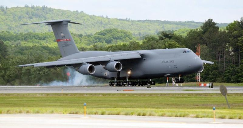 A C-5M aircraft arrives for the 439th Airlift Wing at Westover Air Reserve Base in Chicopee.