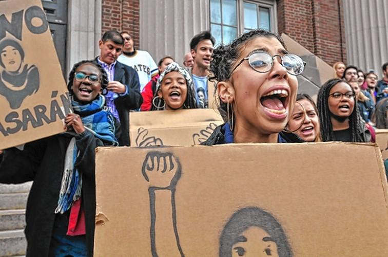 In November 2016, Amherst College student Irisdelia Garcia spoke during a protest against the immigration policies proposed by Donald Trump.