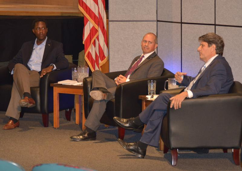 Democratic candidates for Massachusetts governor Setti Warren, left, Jay Gonzalez and Bob Massie participate in a debate in East Longmeadow on September 16, 2017.