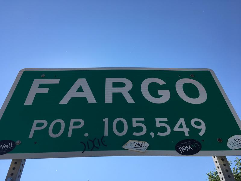 A road sign on the Fargo, North Dakota border.