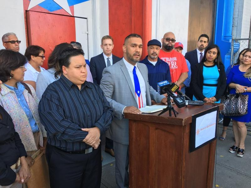 Edward Nunez of Freedom Credit Union speaks at a press conference about getting help to hurricane victims in Puerto Rico held in Holyoke, Massachusetts on Thursday, Sept. 28, 2017.