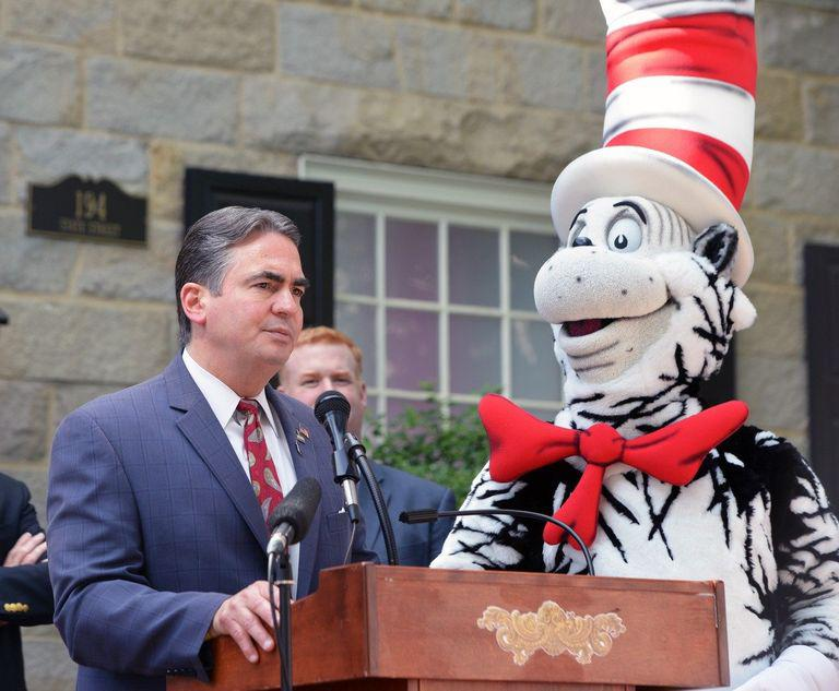 Mayor Dominic Sarno at the opening of The Amazing World of Dr. Seuss Museum last June.