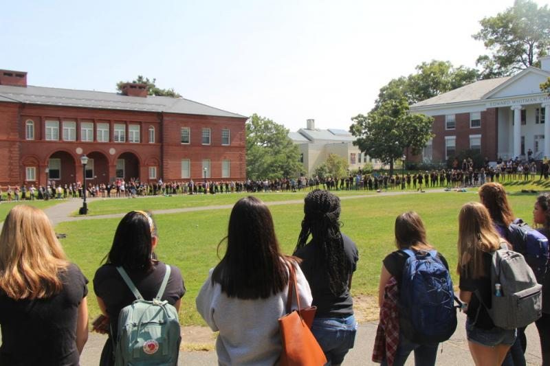Hundreds of Amherst College students rallied against racism following the discovery of a noose on Pratt Field Labor Day weekend 2017.