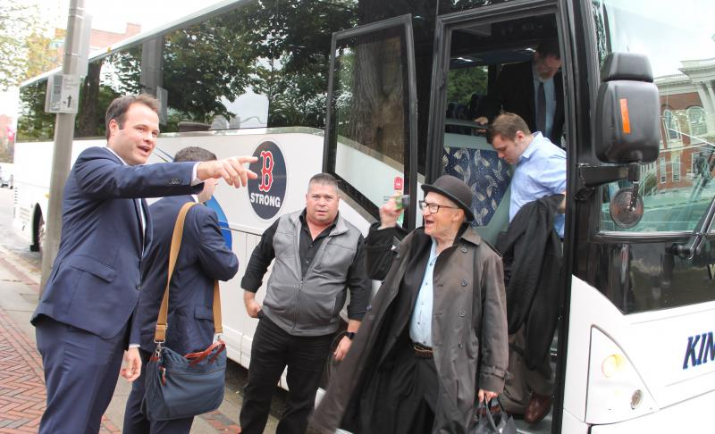 A constituent snapped a photo of Sen. Eric Lesser while disembarking the charter bus from Springfield on Tuesday morning in front of the State House.