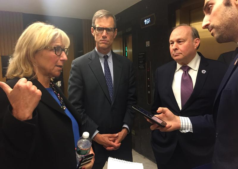 Sens. Spilka, Brownsberger, and Rosenberg spoke to reporters after the Senate adjourned early Friday morning.