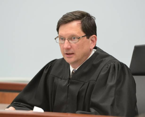 Judge Thomas Estes, seen here March 21, 2016, at an arraignment in Eastern Hampshire District Court in Belchertown, Mass.