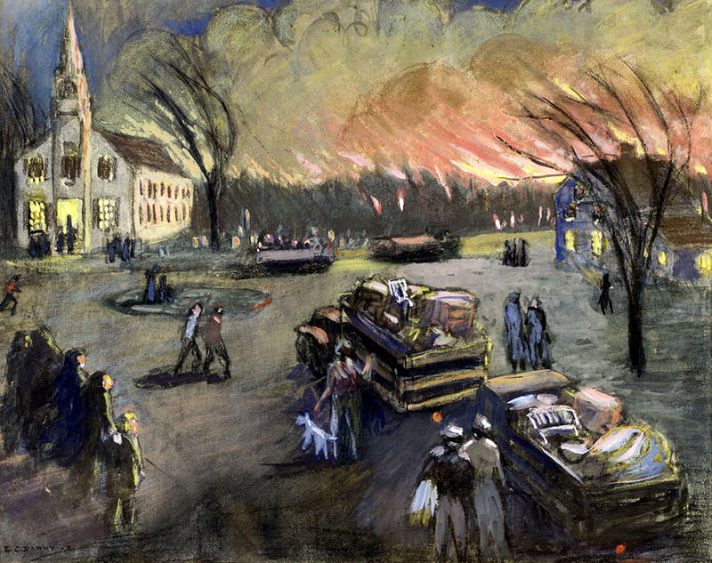A painting by Edith Cleves Barry at the Brick Store Museum depicts the 1947 fires in Maine.