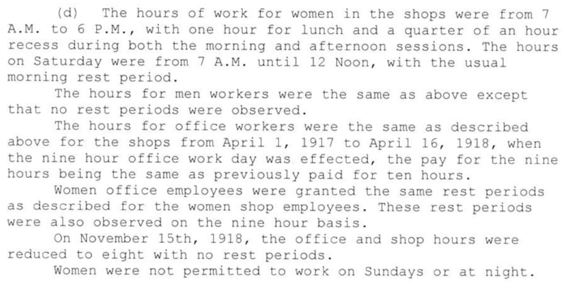 An excerpt from the the Information (a report) concerning Employment of Women at the Springfield Armory, dated December 19, 1918.