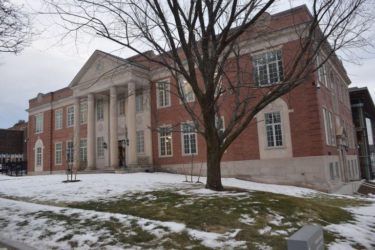 The Franklin County Justice Center in Greenfield, where the Supreme Judicial Court is holding a special sitting.