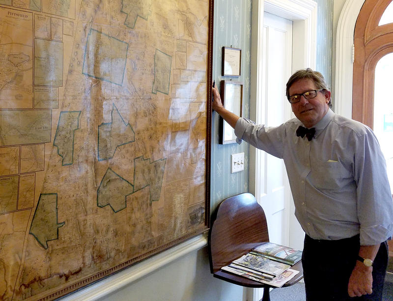 Attorney Jim Lamme, a member of the Berkshire Museum, joined a lawsuit against the museum to halt the sale of artwork. A map in his Great Barrington office is emblematic of why art matters to the region.