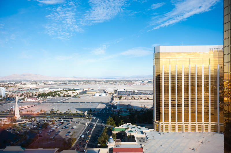 The Mandalay Bay hotel, at right, across the street from a concert venue near Las Vegas, Nevada, as seen in 2011.