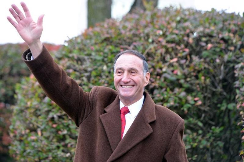 Bill Sapelli greets voters in Agawam, Mass.