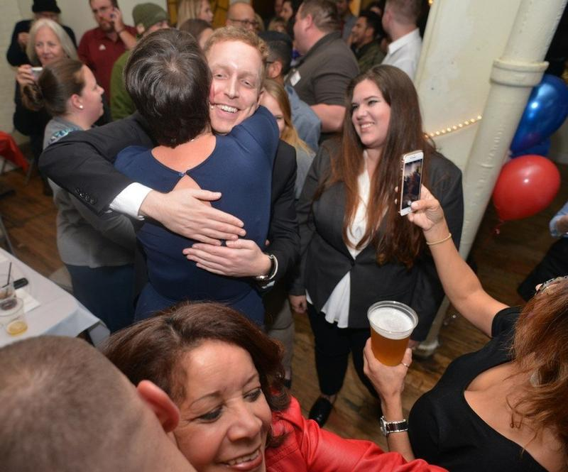 Holyoke Mayor Alex Morse greets his supporters at the Gateway City Arts after winning the mayor's contest over Jay Ferreira, Tuesday night in Holyoke.