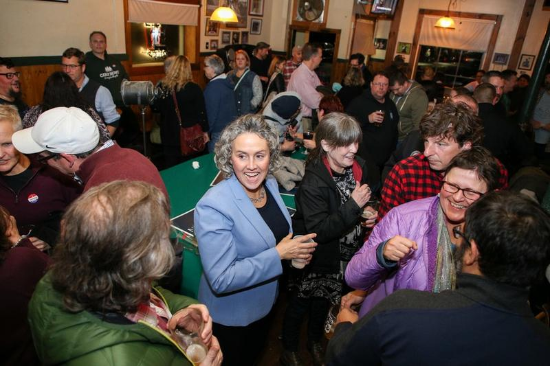 Easthampton Mayor-elect Nicole LaChapelle, center, greets supporters at the Brass Cat in Easthampton on November 7, 2017.