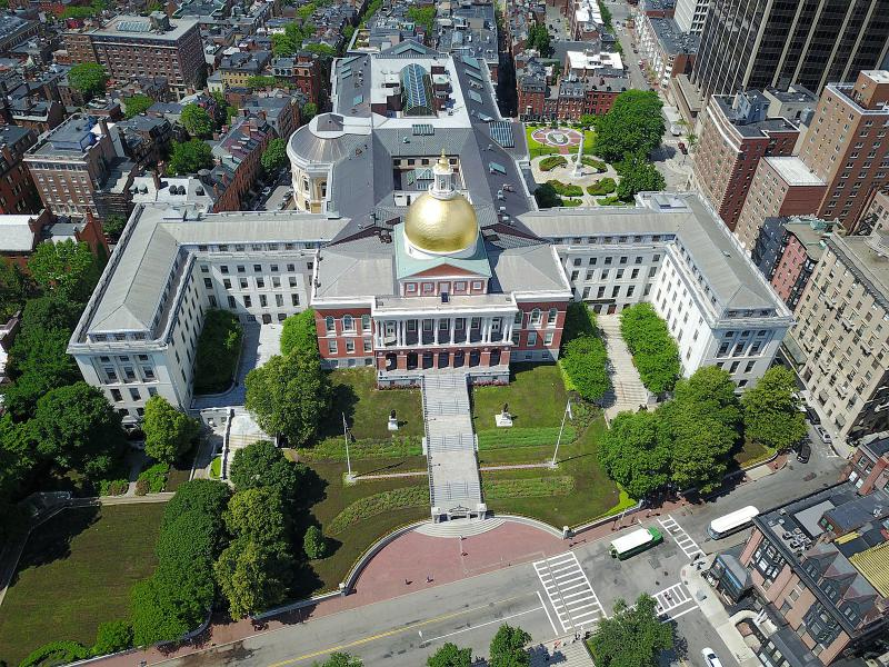 An aerial view of the Massachusetts State House in Boston in June, 2017.