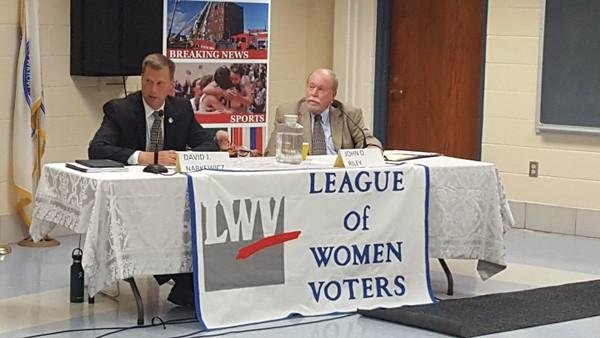 Mayoral incumbent David Narkewicz and candidate John Riley participated in a campaign debate last week.