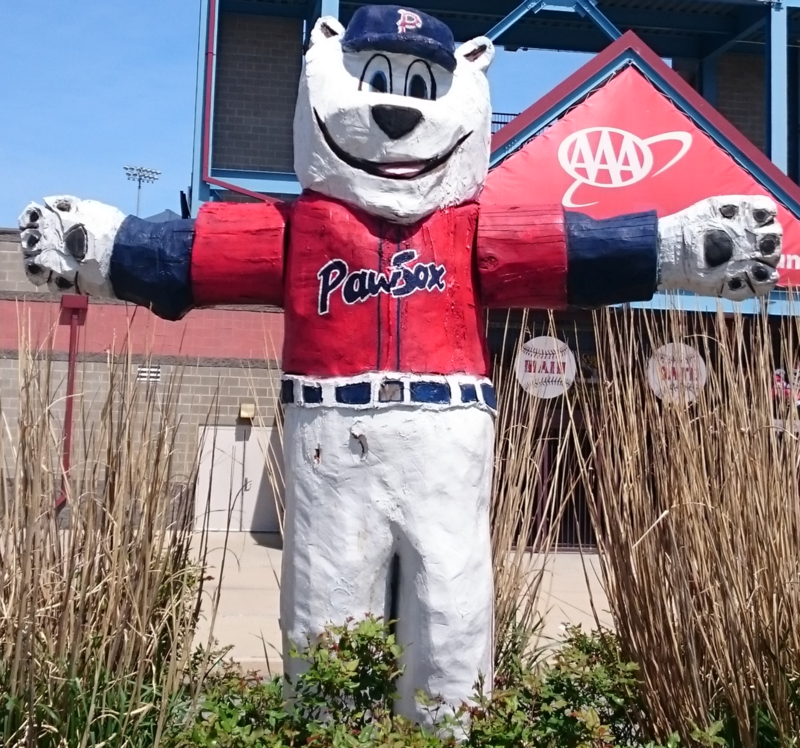 "Mascot ""Paws"" greets visitors to McCoy Stadium in Pawtucket, Rhode Island."