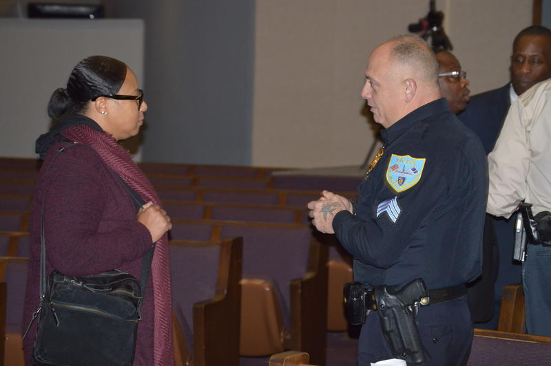On Nov. 27, the Council of Churches of Western Massachusetts hosted a summit on church security. Pictured: Iesha Brown, left, talks to Springfield Police Sgt. Brian Beliveau.