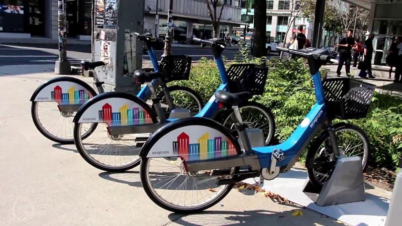 Electric-assisted bikes in a bike share program in Canada.