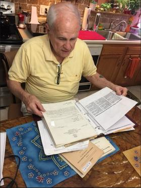 George Maynard keeps records of his unsuccessful attempts to rejoin the Jehovah's Witnesses.
