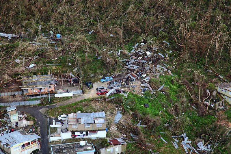 Homes lay in ruin as seen from a U.S. Customs and Border Protection, Air and Marine Operations, Black Hawk during a flyover of Puerto Rico after Hurricane Maria September 23, 2017.