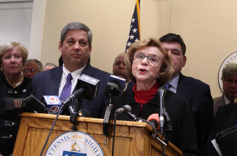Mass. Senate Majority Leader Harriette Chandler and Minority Leader Bruce Tarr talked to the press, backed up by most of their fellow members, following a marathon set of caucuses Monday that determined Chandler would be elected acting Senate president.