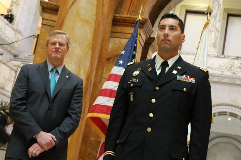 Gov. Charlie Baker presented awards to National Guard members on Wednesday including a commendation medal to Capt. David Wilson (right) for his heroism evacuating a crashed school bus in January.