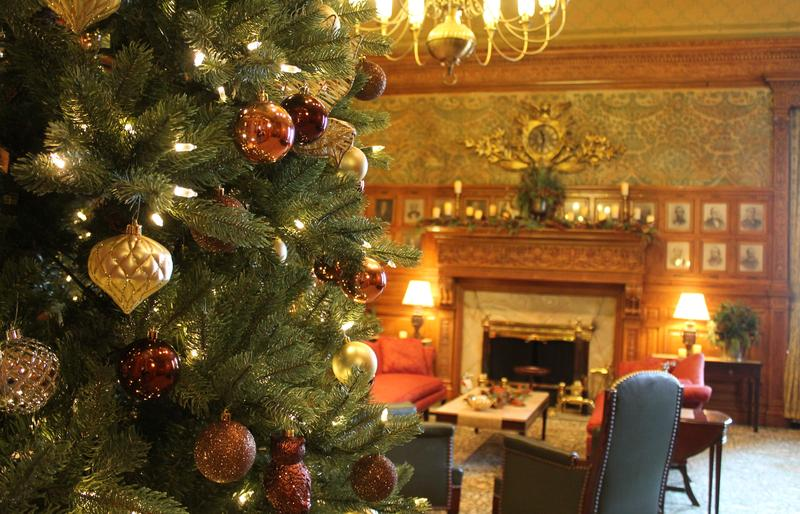The Massachusetts Senate president's office, bedecked with evergreens and lights, was open to visitors on Wednesday, Dec. 13, 2017.