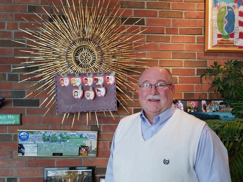 Outgoing North Adams, Massachusetts, Mayor Dick Alcombright poses in his office. Alcombright decided not to run for a fifth term this year and will be replaced in January, 2018 by Tom Bernard.