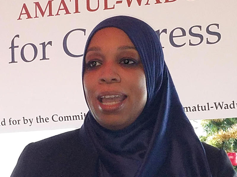 Attorney Tahirah Amatul-Wadud of Chicopee, Massachusetts, is taking on Congressman Richard Neal in next year's Democratic primary. Here, Amatul-Wadud addresses supporters during a campaign event in Pittsfield, Massachusetts.