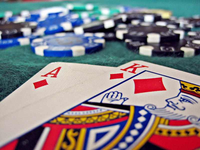 A blackjack game.