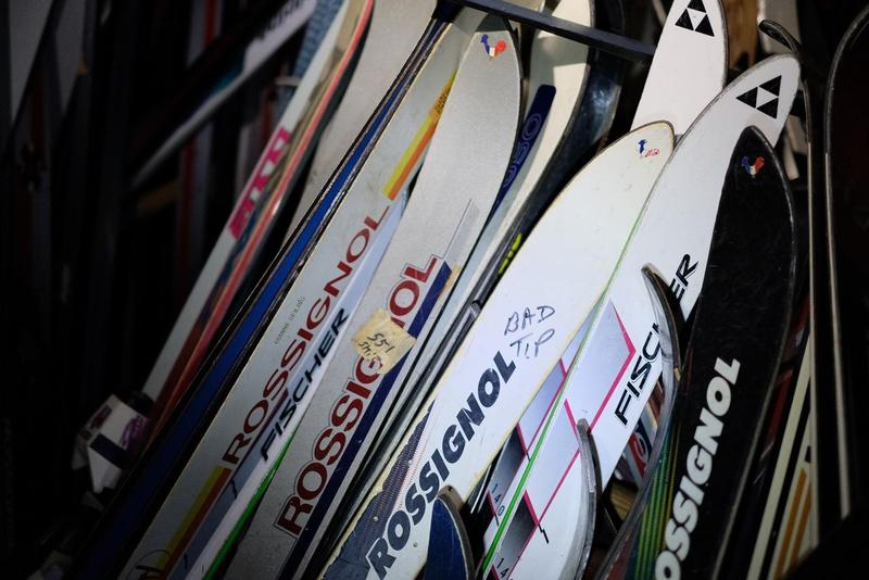 These found skis are decades old, of varying brands and sizes. Some are in better shape than others.