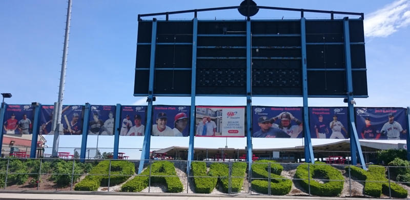 An exterior view of McCoy Stadium in Pawtucket, Rhode Island, current home of the PawSox baseball team, in May 2017.