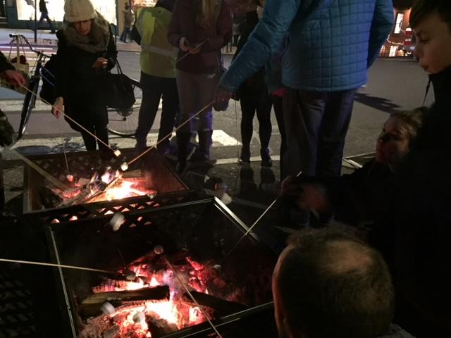 Grilling marshmallows at Northampton's annual holiday stroll.