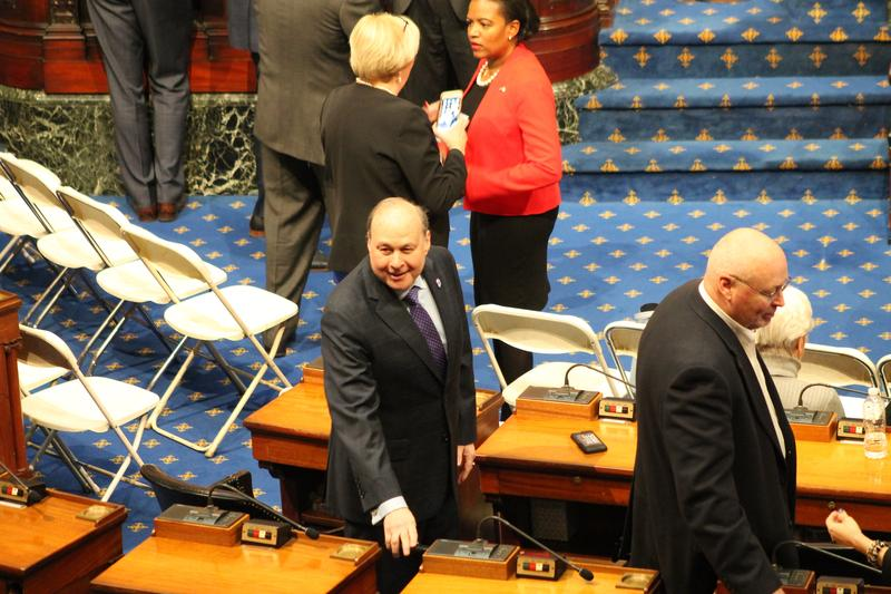 State Senator Stanley Rosenberg roamed the aisles of the House Chamber on Thursday greeting colleagues during a farewell session for former Sen. Thomas McGee, on Jan. 11, 2018.State Senator Stanley Rosenberg roamed the aisles of the House Chamber on Jan.