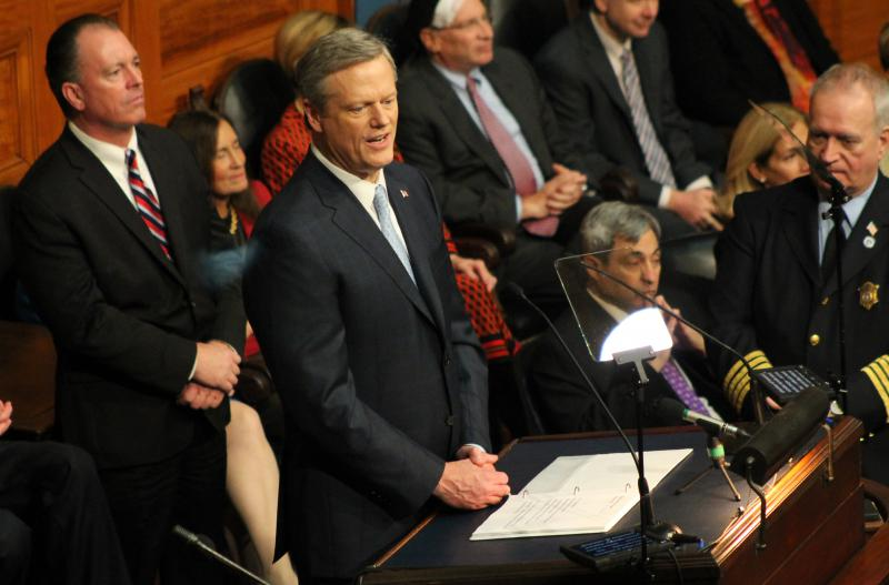 Massachusetts Gov. Charlie Baker on Tuesday, Jan. 23, 2018, gave his fourth annual address from the House rostrum.