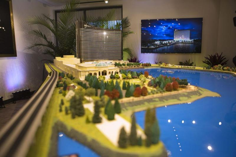 A scaled model of Wynn's planned casino in Everett, Massachusetts.