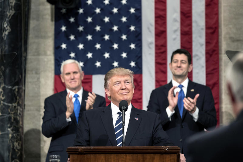 President Trump, flanked by Vice President Pence and House Speaker Paul Ryan, giving a joint address to Congress in February 2017, soon after his inauguration.