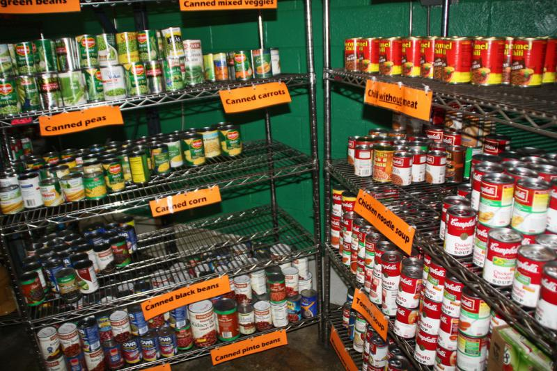 Food bank shelves in Washington, D.C.