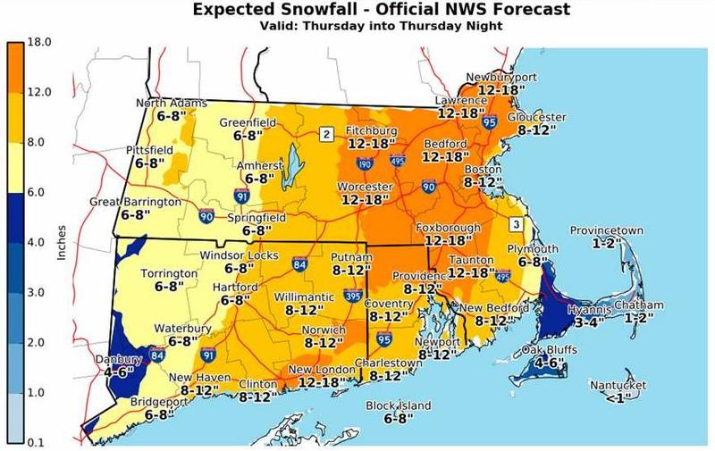 Snowfall totals predicted across southern New England for a storm on Thursday, Jan. 4, 2018.