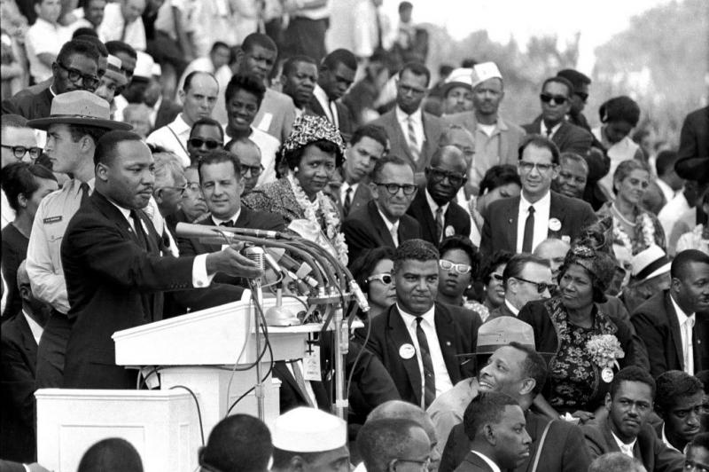 Martin Luther King, Jr. at the March on Washington; Mahalia Jackson wearing corsage at lower right
