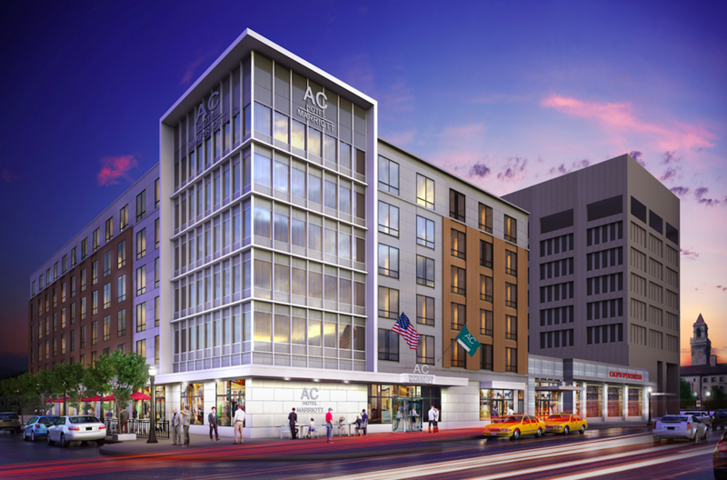 A rendering of a hotel in downtown Worcester, Massachusetts, still under construction and slated to open April 2018.