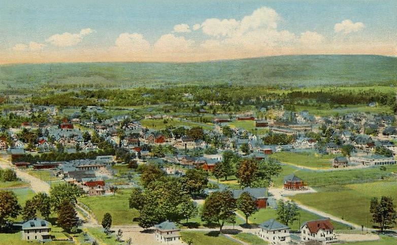 Bird's-eye view of Greenfield, Massachusetts,  from a 1917 postcard.