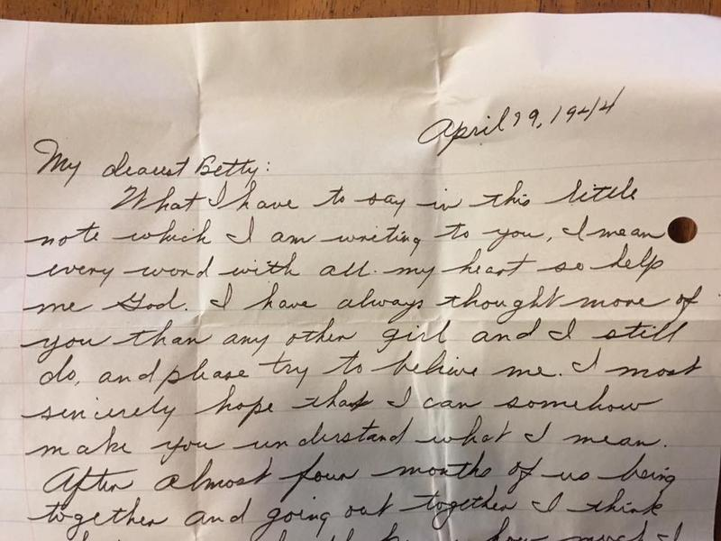 Excerpt of love letter posted on Greenfield, Massachusetts, police Facebook page.