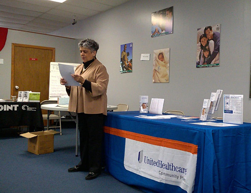 Betty Medina Lichtenstein, Executive Director of Enlace de Familias, at an orientation for Puerto Ricans who came to Holyoke, Massachusetts, after Hurricane Maria.