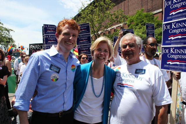 From left, Joseph Kennedy III, Elizabeth Warren and Barney Frank at the 2012 Boston Pride Parade.