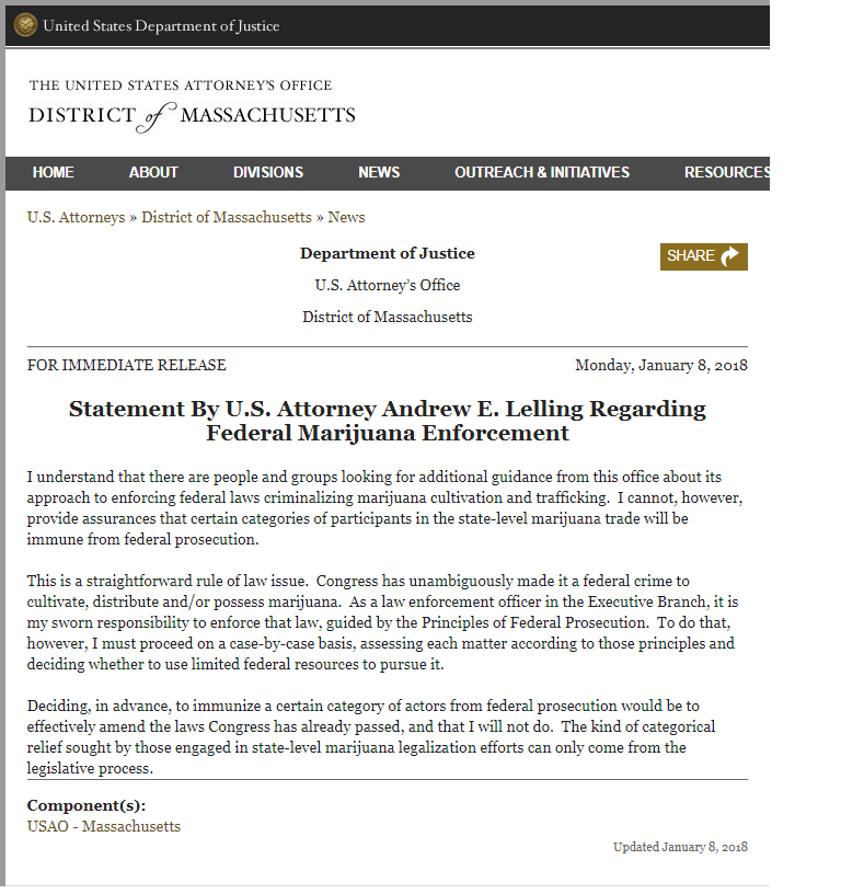 January 8, 2018, statement from U.S. Attorney Andrew Lelling regarding federal marijuana enforcement.
