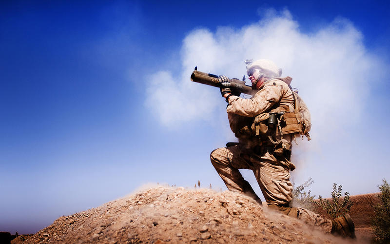 A U.S. Marine in Afganistan.
