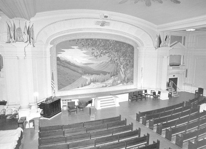 An auditorium in Springfield's Masonic Temple.